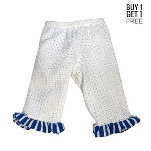 Rare Editions White Eyelet Ruffle Bottom Pants 4T